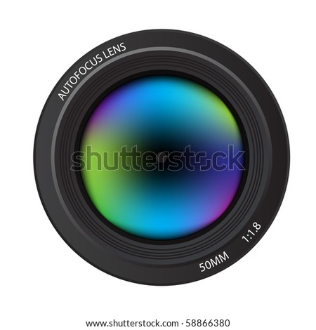 Vector - Illustration of a colorful dslr camera lens, front view - stock vector