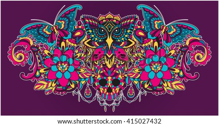 Vector illustration of a colorful mandala collection with an owl, a skull and butterflies - stock vector