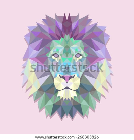 Vector illustration of a colorful origami lion - stock vector