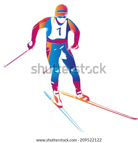 Vector illustration of a colorful skier in action - stock vector