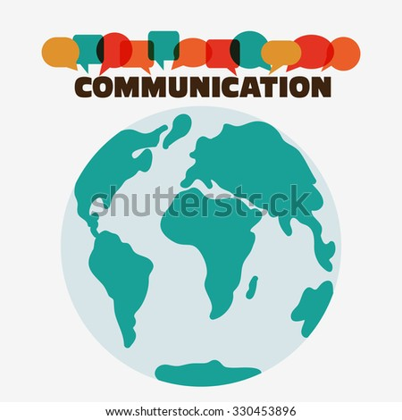 "Vector illustration of a communication concept. The word ""communication"" with colorful dialog speech bubbles with world map background. Flat modern design style - stock vector"