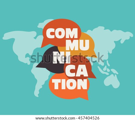 """Vector illustration of a communication concept. The word """"communication"""" with colorful dialog speech bubbles over world map - stock vector"""