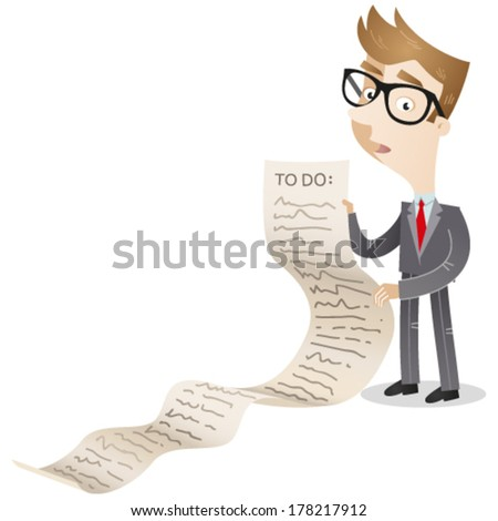 Vector illustration of a confused looking cartoon businessman holding a very long to-do list. - stock vector