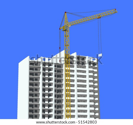 Vector illustration of a construction site with a crane - stock vector
