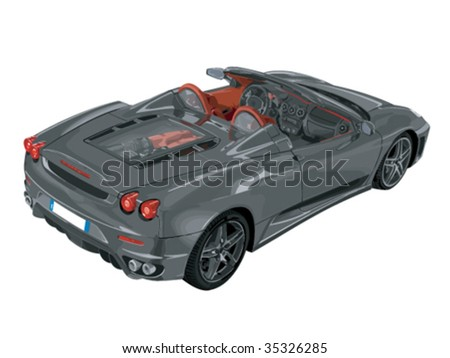 Vector illustration of a convertible sports car. - stock vector