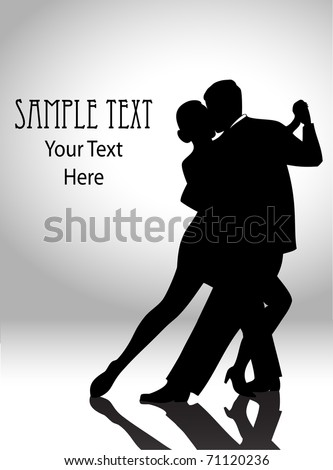 vector illustration of a couple dancing in silhouette - stock vector
