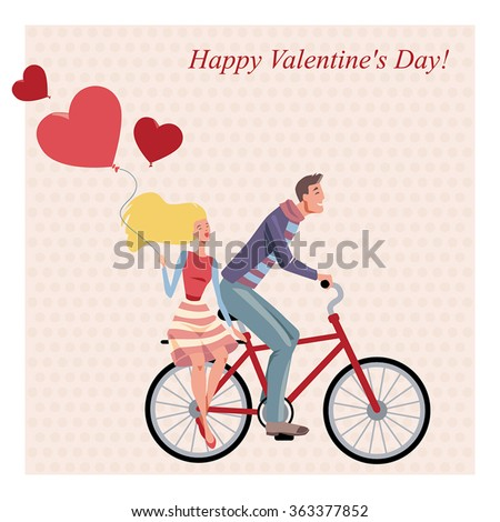 vector illustration of a couple on a bicycle, greeting card for Valentine's Day in a cartoon style - stock vector
