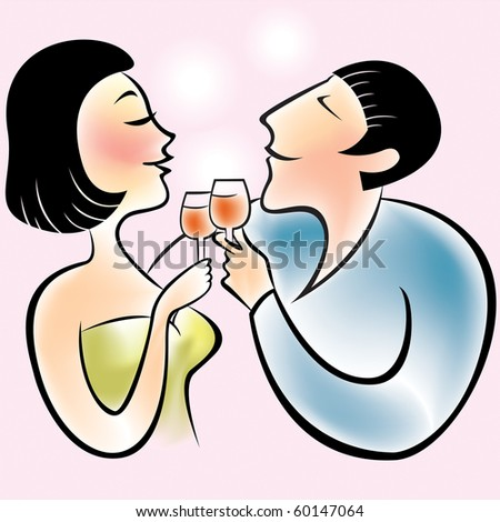 vector illustration of a couple toasting each other. - stock vector
