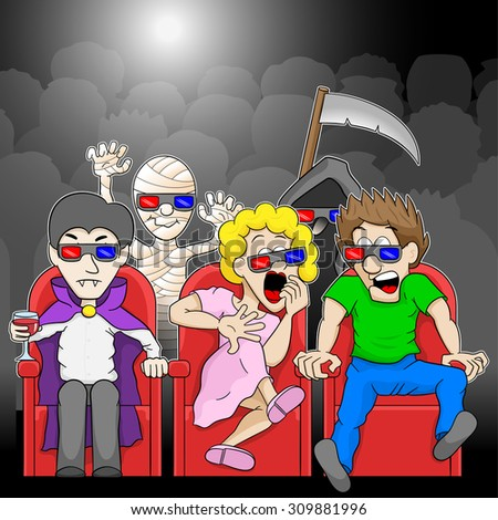 vector illustration of a couple watching a 3D horror movie in a cinema