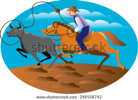 Vector illustration of a cowboy riding horse lasso roping a bull cow. - stock vector