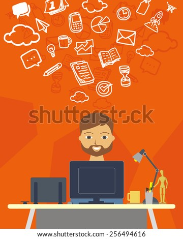 vector illustration of a creative man on his desk working as a graphic designer - stock vector