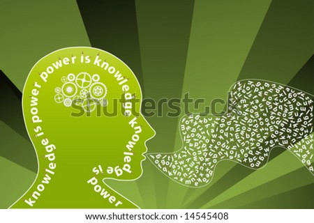 Vector illustration of a creative thinking mind background with alphabet letters coming from the mouth and gearwork moving inside the head. Knowledge concept. - stock vector