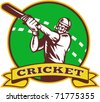 "vector  illustration of a cricket batsman batting front view with ball in background done in retro style  with scroll and words ""cricket"" - stock vector"