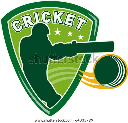vector illustration of a cricket sports player batsman silhouette batting set inside shield with ball flying isolated on white - stock vector