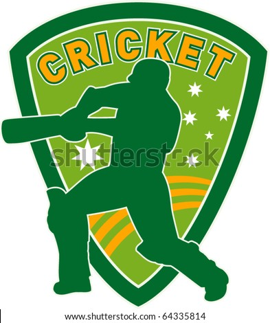 vector illustration of a cricket sports player batsman silhouette batting set inside shield with stars of australian flag greenand gold - stock vector