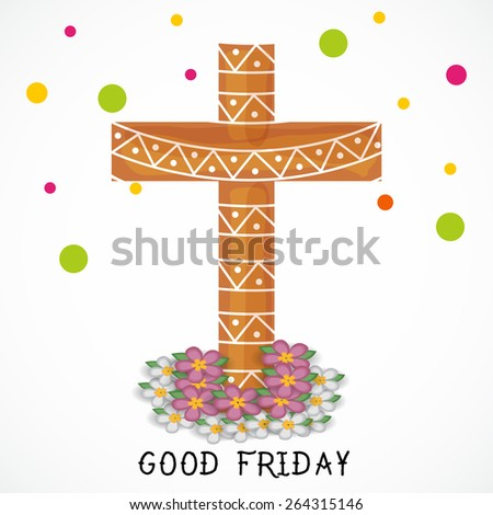 Vector illustration of a cross for Good Friday in white background. - stock vector