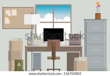 Vector illustration of a crowded work desk. - stock vector