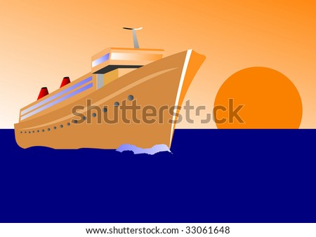 Vector illustration of a cruise ship at sunset - stock vector