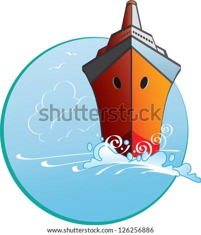 Vector Illustration of a cruise ship sailing through a blue ocean - stock vector