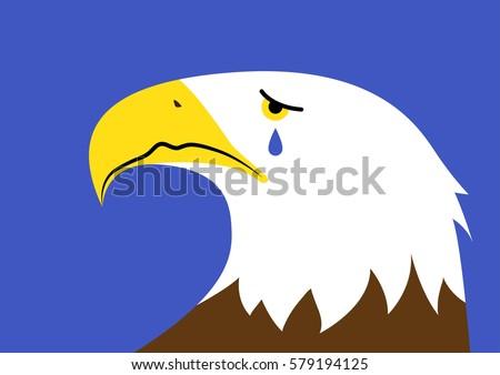Vector Illustration Crying Bald Eagle Representing Stock Vector Hd
