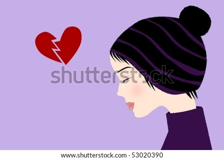 Vector illustration of a crying girl with a hat with broken heart