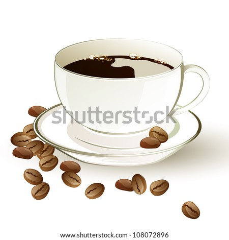 Vector illustration of a cup of coffee and coffee beans