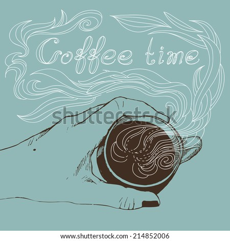 Vector illustration of a cup of coffee. Coffee time. Enjoy your coffee! - stock vector