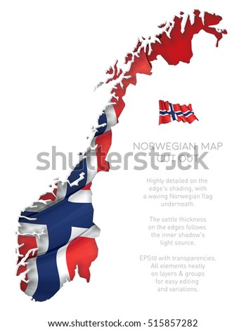 Vector Illustration of a cut out Map of Norway with a waving Norwegian flag underneath. All elements neatly on layers and groups for easy editing and variations.