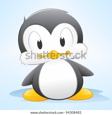 Vector illustration of a cute cartoon penguin. Grouped and layered for easy editing