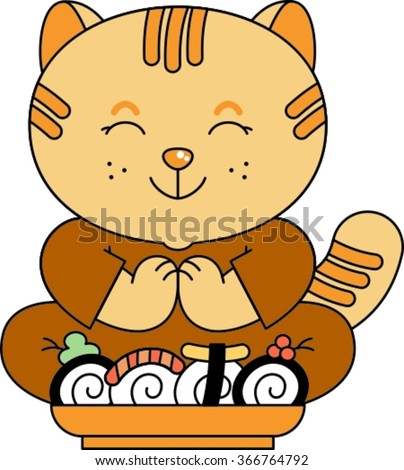 vector illustration of a cute cartoon sushi, japanese food, nigiri sush