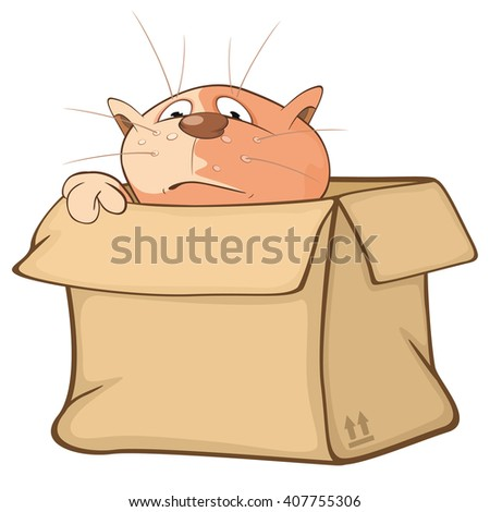 Vector Illustration of a Cute Cat and a Box. Cartoon Character - stock vector