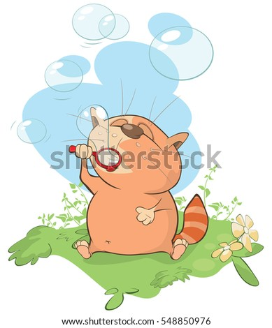 Vector Illustration of a Cute Cat Blowing Bubbles.