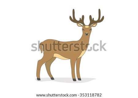 Vector illustration of a cute deer. Isolated on a white background.