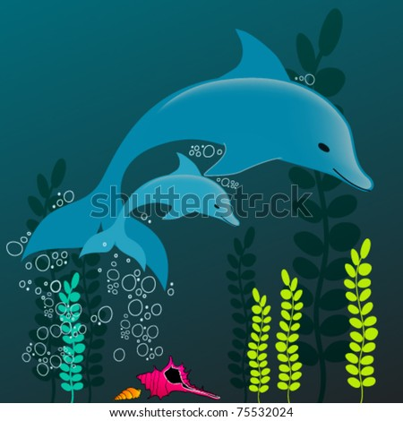 Vector illustration of a cute dolphins swimming in the ocean - stock vector