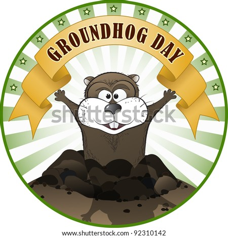 Vector illustration of a cute groundhog popping out of a hole. - stock vector