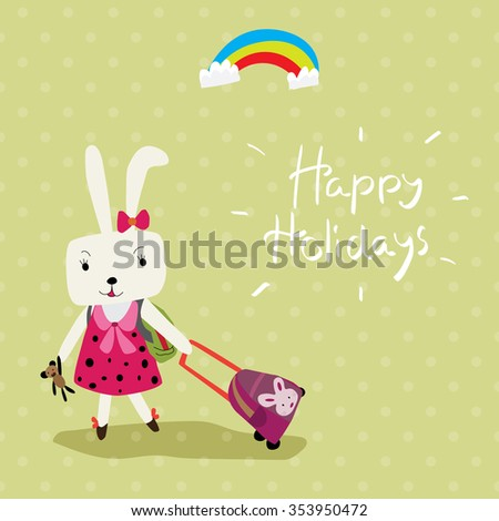vector illustration of a cute rabbit that prepare to travel by carry her bag whit hand write lettering happy holidays on the green background with lighter dots
