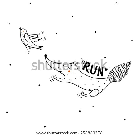vector illustration of a cute running fox and a flying bird - stock vector
