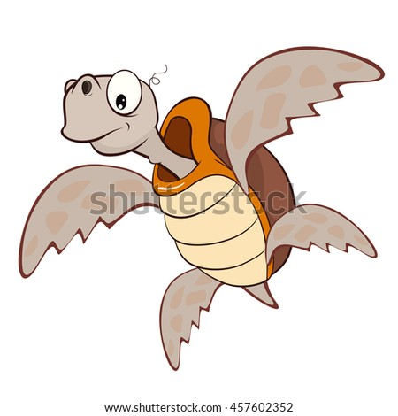 Vector Illustration of a Cute Sea Turtle. Cartoon Character