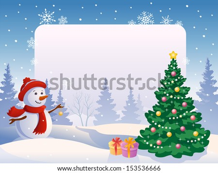 Vector illustration of a cute snow man decorating a xmas tree at a blank poster - stock vector