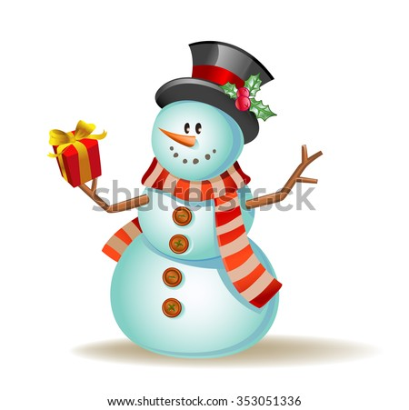 Vector illustration of a Cute snowman with gift in hand. - stock vector