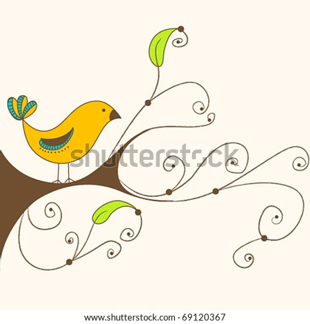 Vector illustration of a cute spring bird on a branch - stock vector
