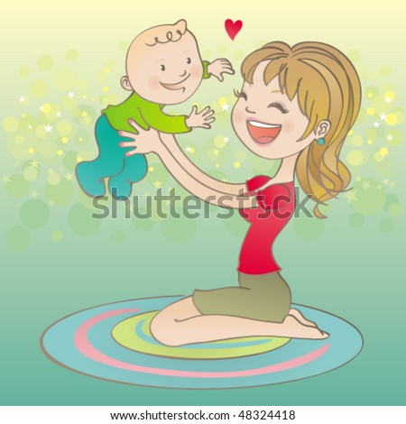 Vector illustration of a cute young mom holding her baby up, having fun. - stock vector