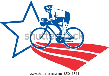 vector illustration of a Cyclist riding racing bike set inside oval viewed from side done in with star and stripes