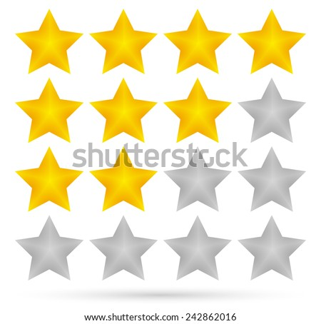 Vector illustration of a 3d star rating system with 4 stars - stock vector