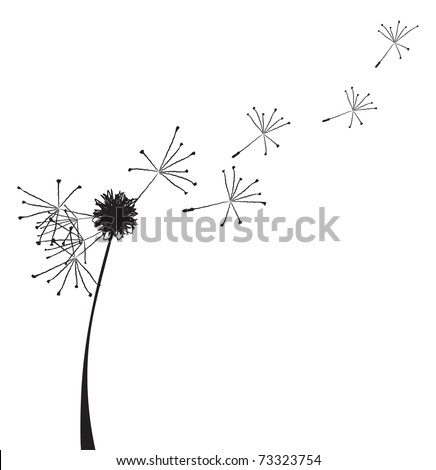 Vector illustration of a dandelion outline with fuzzes flying off it - stock vector