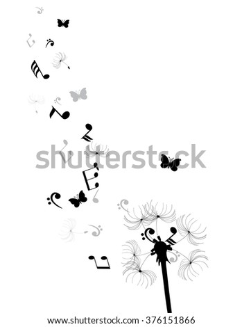 vector illustration of a dandelion with musical notes and butterflies - stock vector