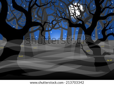 vector illustration of a dark ghostly forest and full moon  - stock vector
