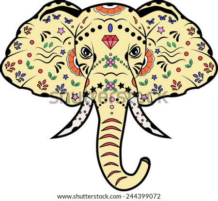 vector illustration of a decorated elephant's head - stock vector