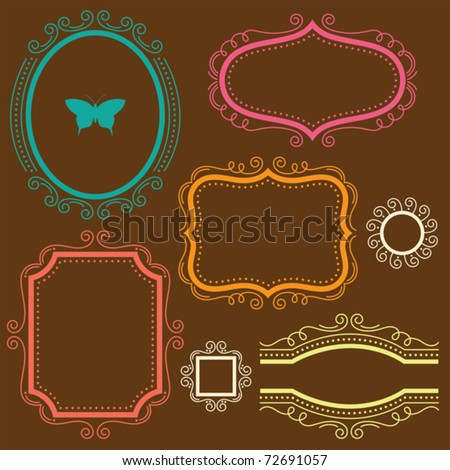 Vector illustration of a decorative frame set. - stock vector