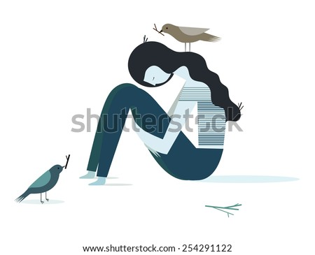 Vector illustration of a depression girl with birds - stock vector
